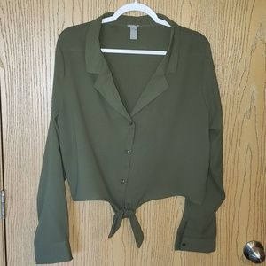 Olive Green Crop Blouse